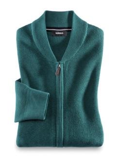 Zip-Strickjacke Soft Cotton Smaragd Detail 1