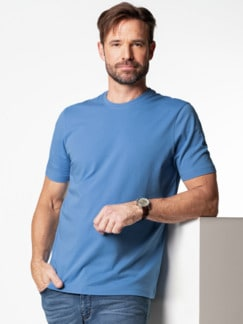 T-Shirt Rundhalsausschnitt Mittelblau Detail 2