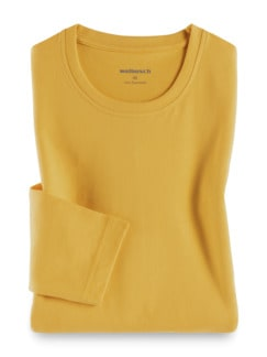 Langarm-Shirt Rundhalsausschnitt Gelb Detail 1
