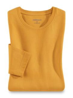 Langarm-Shirt Rundhalsausschnitt Safran Detail 1
