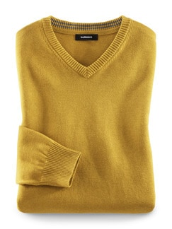 V-Pullover Cashmere Touch Safran Detail 1