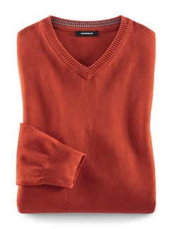 V-Pullover Cashmere Touch Rost Detail 1
