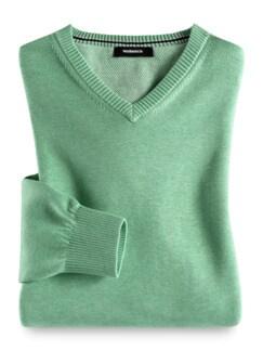 V-Pullover Soft Cotton Pistazie Detail 1