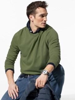 V-Pullover Soft Cotton Farngrün Detail 1