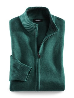 Zip-Jacke Cashmere Touch Smaragd Detail 1