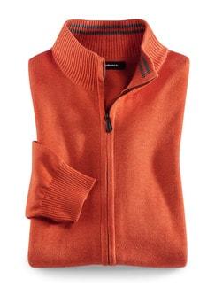Zip-Jacke Cashmere Touch Orange Detail 1