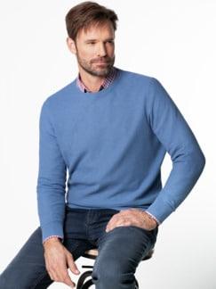 Struktur-Pullover Soft Cotton Azurblau Detail 2