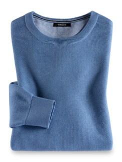 Struktur-Pullover Soft Cotton Azurblau Detail 1