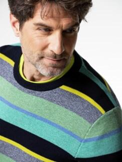 Streifen-Pullover Soft Cotton Mint/Gelb Detail 4