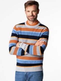 Streifen-Pullover Soft Cotton Azur/Orange Detail 2