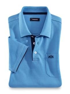 Pique-Polo Strandläufer Mittelblau Detail 1