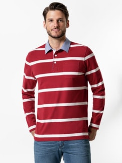 Streifen-Shirt Supersoft Rot gestreift Detail 2