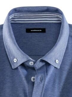 Komfort-Shirt Extraglatt Blau Detail 3