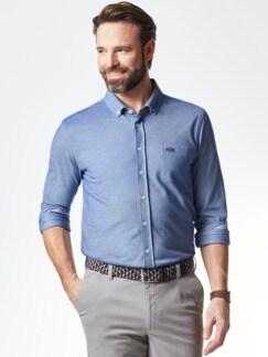 Komfort-Shirt Extraglatt Blau Detail 2