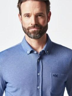 Komfort-Shirt Extraglatt Blau Detail 4