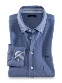 Komfort-Shirt Extraglatt Blau Detail 1