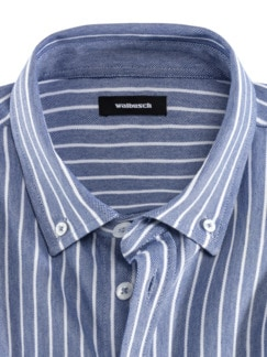 Komfort-Shirt Extraglatt Blau gestreift Detail 3