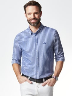 Komfort-Shirt Extraglatt Blau gestreift Detail 2