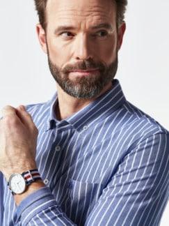 Komfort-Shirt Extraglatt Blau gestreift Detail 4