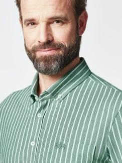 Komfort-Shirt Extraglatt Grün gestreift Detail 4