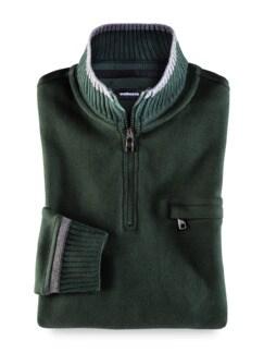 Zip-Shirt Softbund Dunkelgrün Detail 1