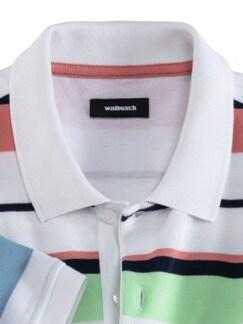 Baumwoll-Polo Miamistreifen Weiß gestreift Detail 3
