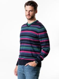 Streifen-Pullover Soft Cotton Beere/Smaragd Detail 2