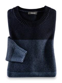 Streifen Pullover Cashmere-Mix Marine/Blau Detail 1