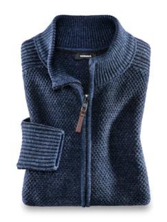 Strickjacke Natural Cotton Jeansblau Detail 1