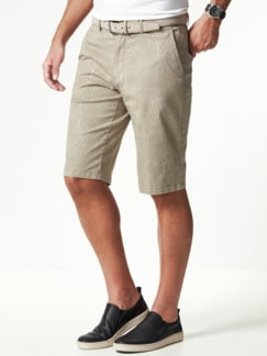 Highstretch Bermudas Blätterdruck Beige Detail 2