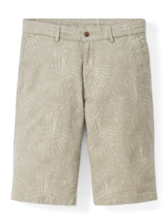 Highstretch Bermudas Blätterdruck Beige Detail 1