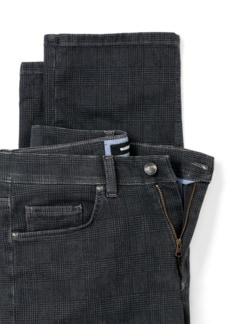 Jogger-Jeans Five Pocket Glencheck Grau Detail 4