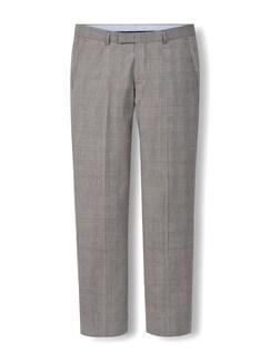 Glencheck-Anzug-Hose Super 130 Greige Detail 1