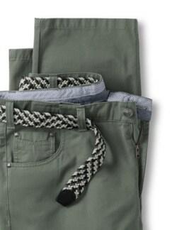 Extraglatt-Stretchbund Five-Pocket Salbei Detail 4