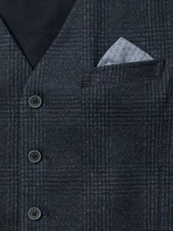 Jersey Bequem Weste Blau Kariert Detail 4