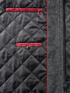 Diagonaltweed Jacke Graumélange Detail 3