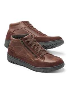 Thermo Kalbleder-Sneaker High Top Cognac Detail 1