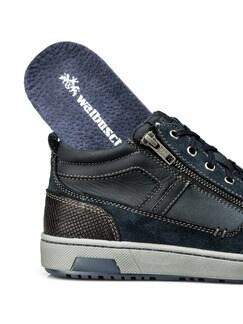 Kalbsleder-Sneaker High Top Blau Detail 3