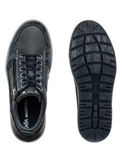 Kalbsleder-Sneaker High Top Blau Detail 2