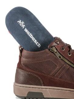 Kalbsleder-Sneaker High Top Cognac Detail 3