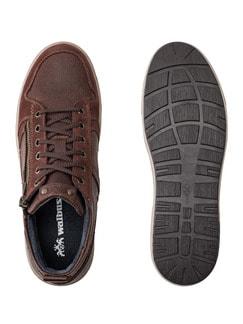 Kalbsleder-Sneaker High Top Cognac Detail 2