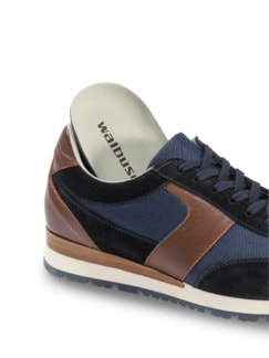 Materialmix-Sneaker Blau Detail 3