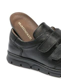 Hirschleder-Doppelklett-Sneaker Schwarz Detail 3