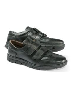 Hirschleder-Doppelklett-Sneaker Schwarz Detail 1