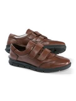 Hirschleder Doppelklett-Sneaker Cognac Detail 1