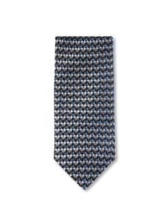 Seidenkrawatte Farbquadrat Grau/Marine Detail 1