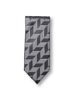 Seidenkrawatte Würfeleffekt Grau/Grau Detail 1