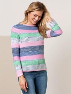 Pullover Quattro Colori Grün/Softpink gestreift Detail 1