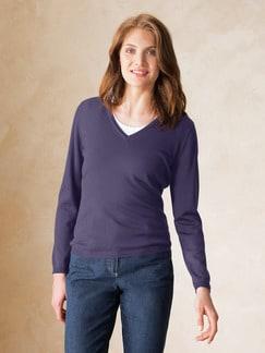 Merino-Pullover V-Ausschnitt Lavendel Detail 1