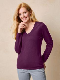 Merino-Pullover V-Ausschnitt Brombeere Detail 1